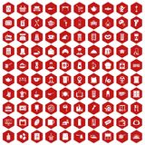 100 kitchen utensils icons hexagon red. 100 kitchen utensils icons set in red hexagon isolated vector illustration Royalty Free Stock Photo