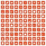 100 kitchen utensils icons set grunge orange. 100 kitchen utensils icons set in grunge style orange color isolated on white background vector illustration Royalty Free Stock Image