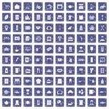 100 kitchen utensils icons set grunge sapphire. 100 kitchen utensils icons set in grunge style sapphire color isolated on white background vector illustration Stock Photos