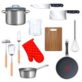 Kitchen Utensils Icons Set. With saucepan frying pan and knife realistic isolated vector illustration stock illustration