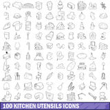 100 kitchen utensils icons set, outline style Stock Photography