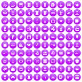 100 kitchen utensils icons set purple. 100 kitchen utensils icons set in purple circle isolated on white vector illustration Vector Illustration