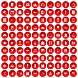 100 kitchen utensils icons set red. 100 kitchen utensils icons set in red circle isolated on white vector illustration Royalty Free Stock Photography