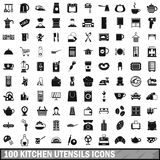 100 kitchen utensils icons set, simple style Royalty Free Stock Photo