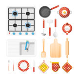 Kitchen Utensils Icons Set. Kitchen utensils top view icons set with cooker fork and knife flat  vector illustration Royalty Free Stock Image