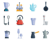 Kitchen utensils icons vector illustration household dinner cooking food kitchenware Stock Photography