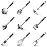 Kitchen utensils icons vector set Stock Photography