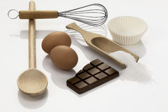 Kitchen Utensils with ingredients Royalty Free Stock Photo
