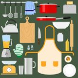 Kitchen utensils and items for cooking. A large set of kitchen items. Flat design, vector illustration, vector Royalty Free Stock Images