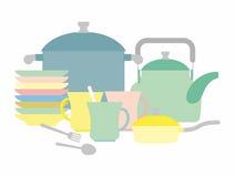 Kitchen utensils. Kettle and mugs. Set of plates. Vector illustr Royalty Free Stock Images