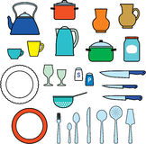Kitchen utensils, kitchenware Stock Images