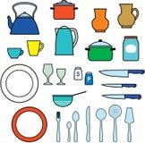 Kitchen utensils, kitchenware Stock Images