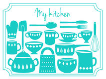 Kitchen utensils label Stock Photo