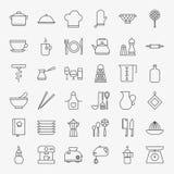 Kitchen Utensils Line Art Design Icons Big Set Stock Photo