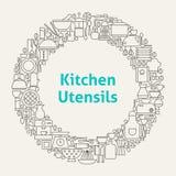 Kitchen Utensils Line Art Icons Set Circle Stock Photos