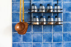 Kitchen utensils. metal shelf with seasonings, spices Royalty Free Stock Photos