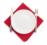 Kitchen utensils at napkin on white Stock Image