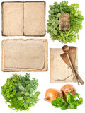 Kitchen utensils, old cookbook, pages and herbs Royalty Free Stock Photo