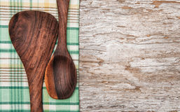 Kitchen utensils on the old wood background Stock Photography