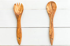 Kitchen Utensils from Olive Wood, such as Chopping Board and Sal Stock Photography