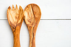 Kitchen Utensils from Olive Wood, such as Chopping Board and Sal Royalty Free Stock Photography