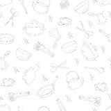 Kitchen utensils outline seamless pattern. Picture of kitchen utensils, a dark outline against a light background. Vector illustration Royalty Free Stock Photography