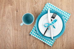 Kitchen utensils over wooden table Stock Photos