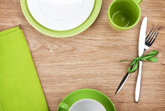 Kitchen utensils over wooden table Stock Photography