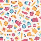 Kitchen utensils pattern royalty free illustration