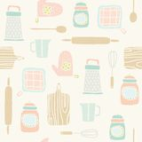 Kitchen utensils pattern. Vector EPS 10 hand drawn seamless pattern Stock Image
