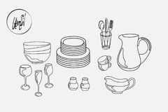 Kitchen utensils plates cups saucers pitcher mug and fork and spoon and knife. Black and white contour drawing Royalty Free Stock Photo