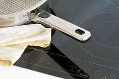 Kitchen utensils, pots and induction hobs. Royalty Free Stock Image
