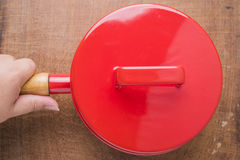 Kitchen utensils red cooking pot Royalty Free Stock Images