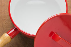 Kitchen utensils red cooking pot Royalty Free Stock Photo