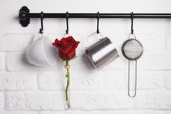 Kitchen utensils, red rose on rank Stock Images