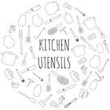 Kitchen utensils round set. Hand drawn kitchenware and cutlery Stock Photo