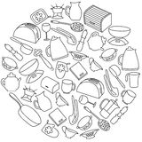 Kitchen utensils round set. Hand drawn kitchenware and cutlery Royalty Free Stock Photography