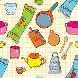 Kitchen utensils seamless Stock Photos