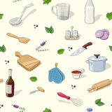 Kitchen utensils. Seamless pattern Royalty Free Stock Photos