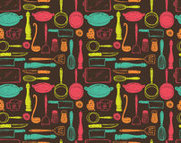 Kitchen utensils seamless pattern royalty free stock photography