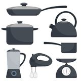 Kitchen utensils, set. Frying pan, saucepan, kettle, mixer, blender, scales. Vector flat illustration. Stock Image
