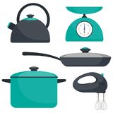 Kitchen utensils, set. Frying pan, saucepan, kettle, mixer, scales. Vector flat illustration. Stock Photos