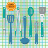 Kitchen utensils set icons on blue and green plaid pattern background. Kitchen utensils set icons on cute blue and green plaid pattern background royalty free illustration