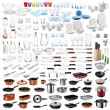 Kitchen utensils set. Kitchenware set with cooking/food serving utensils and dishware on white background stock image