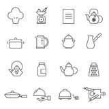 Kitchen utensils. Set of outlined cooking icons vector illustration