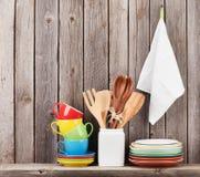 Kitchen utensils on shelf Royalty Free Stock Photo