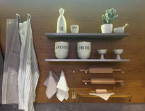 Kitchen utensils on shelf and wall. Nice interior wooden design stock images