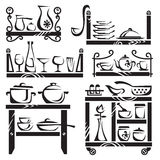 Kitchen utensils on shelves Royalty Free Stock Image