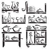 Kitchen utensils on shelves Royalty Free Stock Image