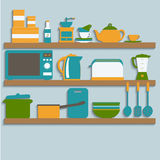 Kitchen utensils on shelves Stock Images